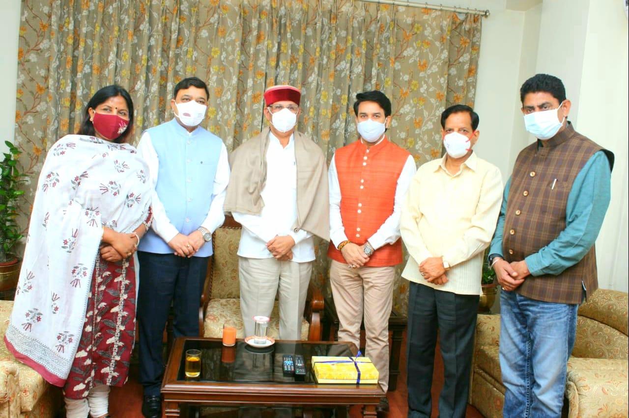 अनुराग ठाकुर सहित चारों सांसदों ने दिल्ली में की हिमाचल के राज्यपाल राजेंद्र विश्वनाथ अर्लेकर से भेंट